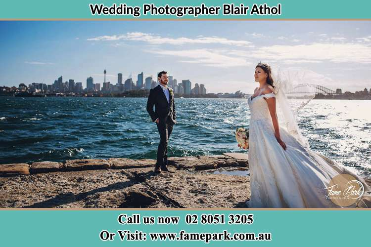 Photo of the Groom and the Bride at the sea front Blair Athol NSW 2560