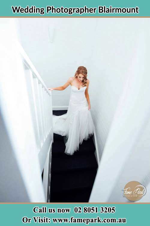 Photo of the Bride going down the stair Blairmount NSW 2559