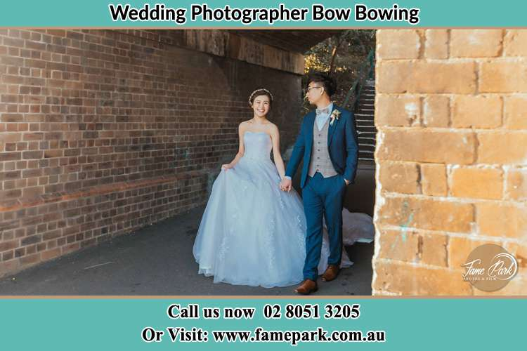 Photo of the Bride and the Groom walking Bow Bowing NSW 2556