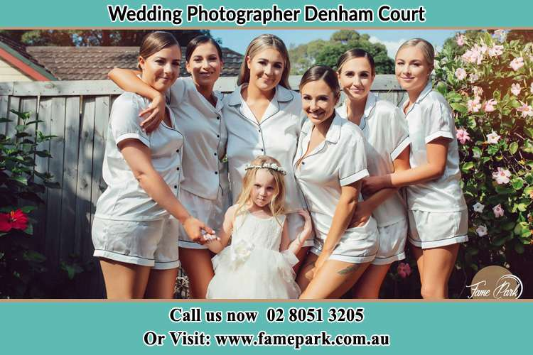 Photo of the Bride and the bridesmaids with the flower girl Denham Court NSW 2565
