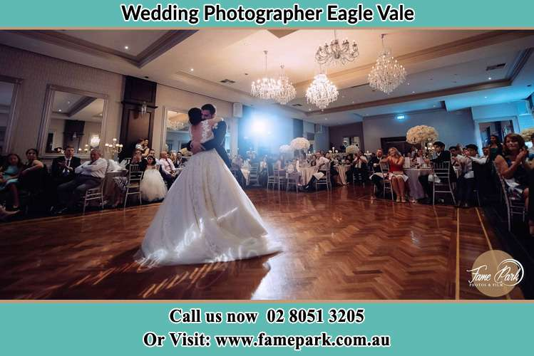 Photo of the Bride and the Groom hugging on the dance floor Eagle Vale NSW 2558