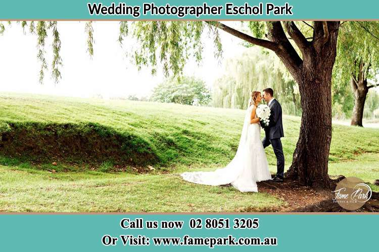 Photo of the Bride and the Groom kissing under the tree Eschol Park NSW 2558