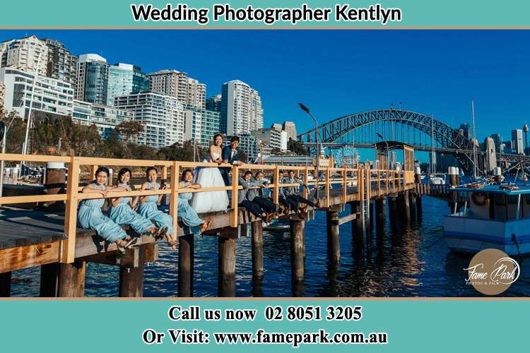 Photo of the Groom and the Bride with the entourage at the bridge Kentlyn NSW 2560
