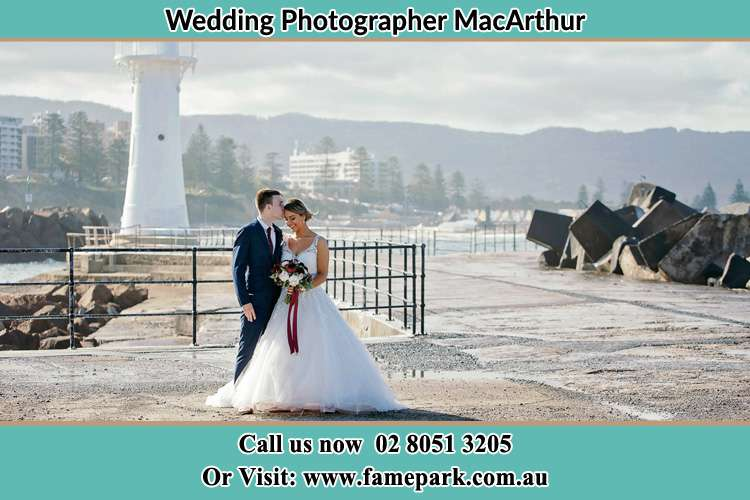 Bride and Groom near the watch tower Macarthur