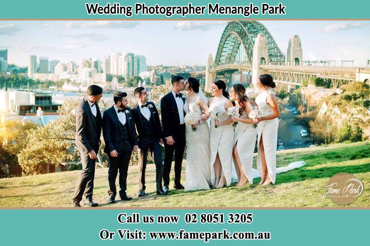 Photo of the Groom and the Bride with the entourage near the bridge Menangle Park NSW 2563