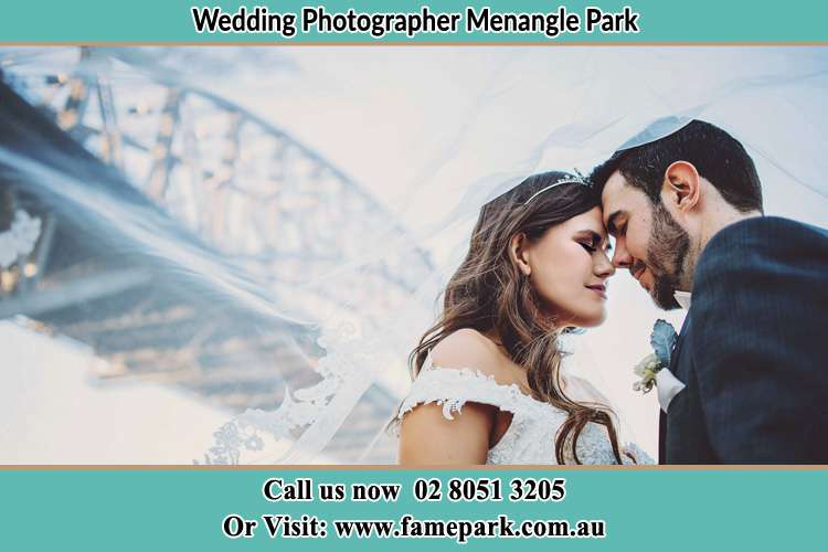Close up photo of the Bride and the Groom under the bridge Menangle Park NSW 2563