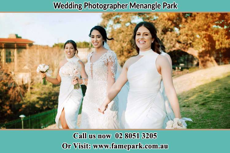 Photo of the Bride and the bridesmaids walking Menangle Park NSW 2563