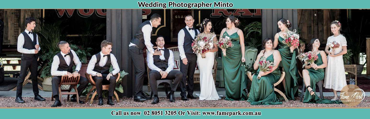 The Bride and the Groom with their entourage pose for the camera Minto NSW 2566