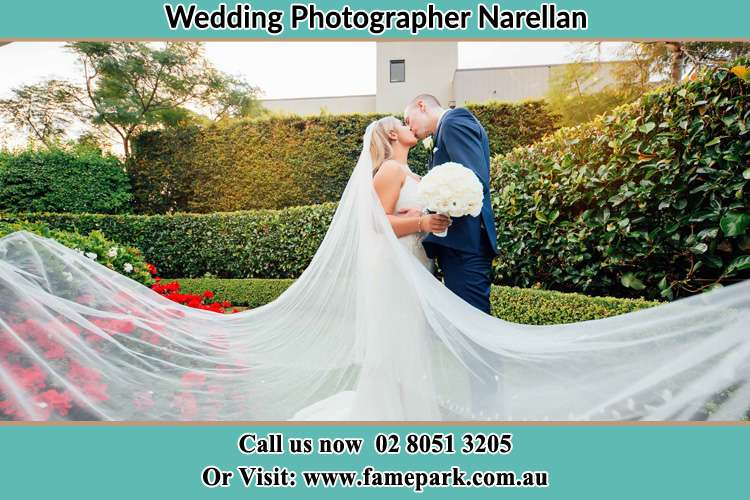 Photo of the Bride and the Groom kissing at the garden Narellan NSW 2567