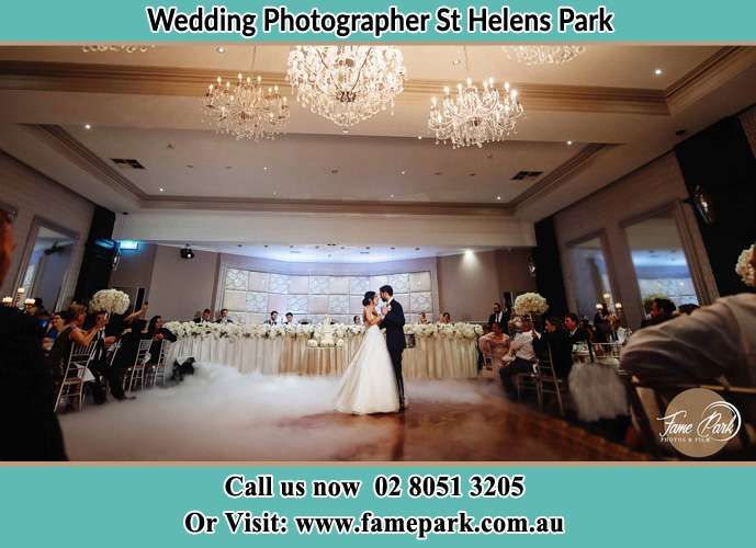 Photo of the Bride and the Groom dancing on the dance floor St Helens Park NSW 2560