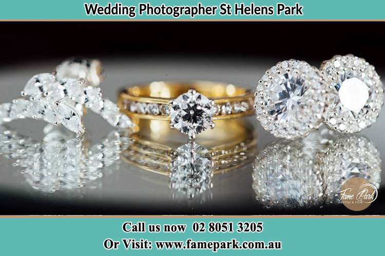 Photo of the Bride's cliff, ring and earrings St Helens Park NSW 2560
